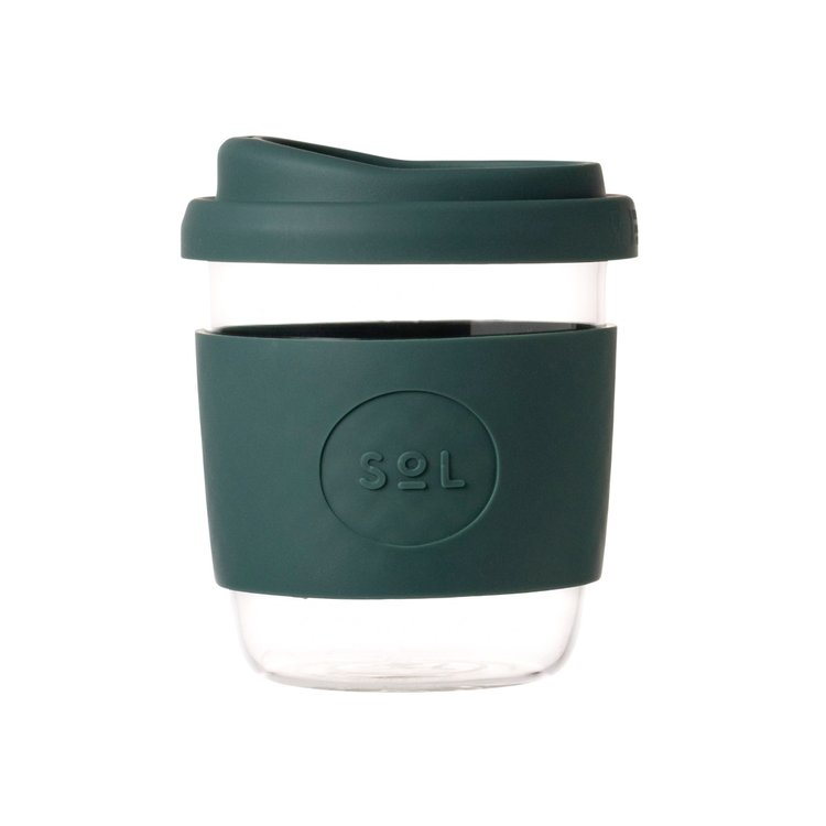 8oz Deep Sea Green Hand-Blown Reusable Glass Coffee Cup With Lid
