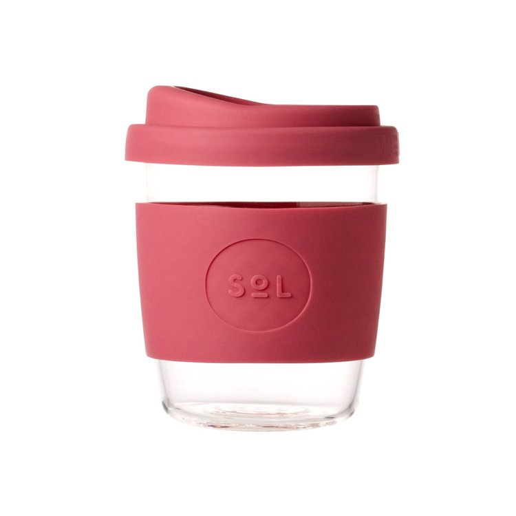 8oz Radiant Rose Hand-Blown Reusable Glass Coffee Cup With Lid