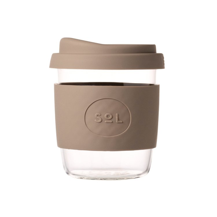 8oz Seaside Slate Hand-Blown Reusable Glass Coffee Cup With Lid
