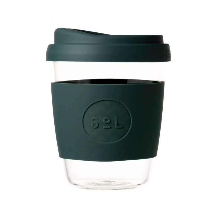 12oz Deep Sea Green Hand-Blown Reusable Glass Coffee Cup With Lid