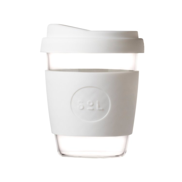 12oz White Wave Hand-Blown Reusable Glass Coffee Cup With Lid
