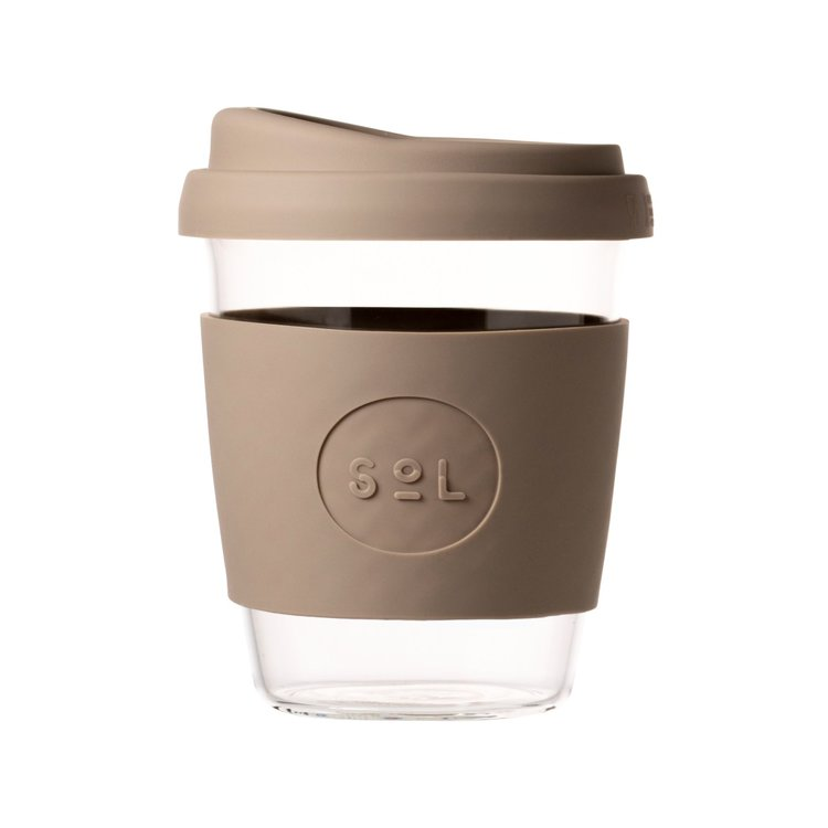 12oz Seaside Slate Hand-Blown Reusable Glass Coffee Cup With Lid