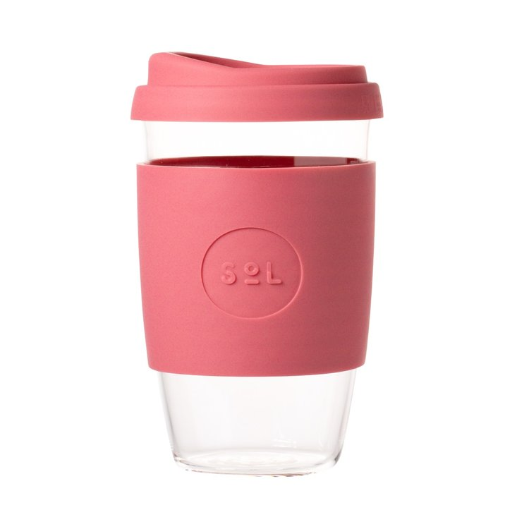 16oz Radiant Rose Hand-Blown Reusable Glass Coffee Cup With Lid