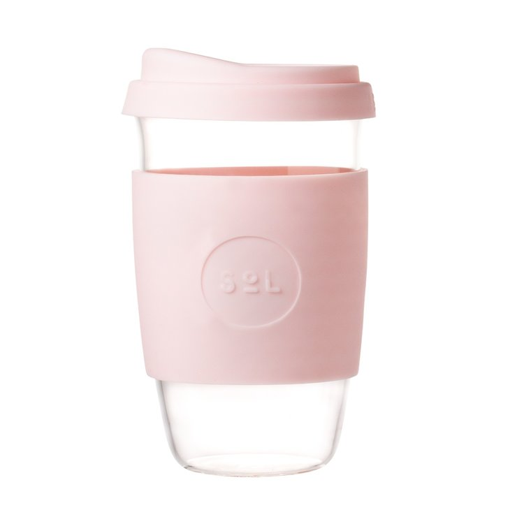 16oz Perfect Pink Hand-Blown Reusable Glass Coffee Cup With Lid