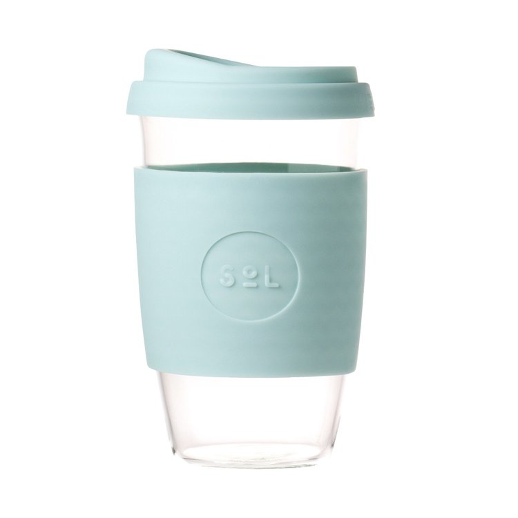 16oz Cool Cyan Hand-Blown Reusable Glass Coffee Cup With Lid