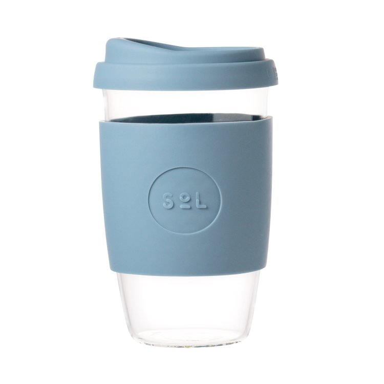 16oz Blue Stone Hand-Blown Reusable Glass Coffee Cup With Lid