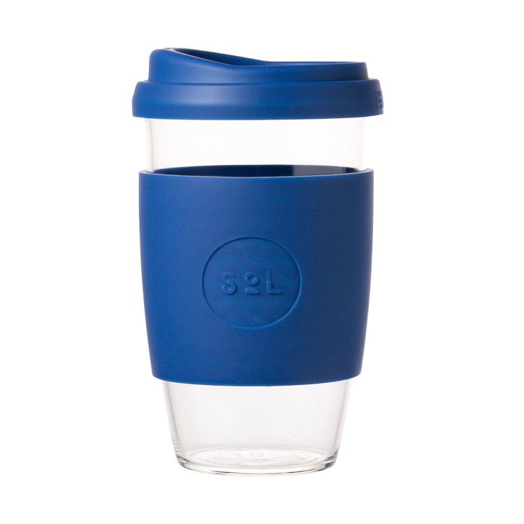16oz Winter Bondi Blue Hand-Blown Reusable Glass Coffee Cup With Lid