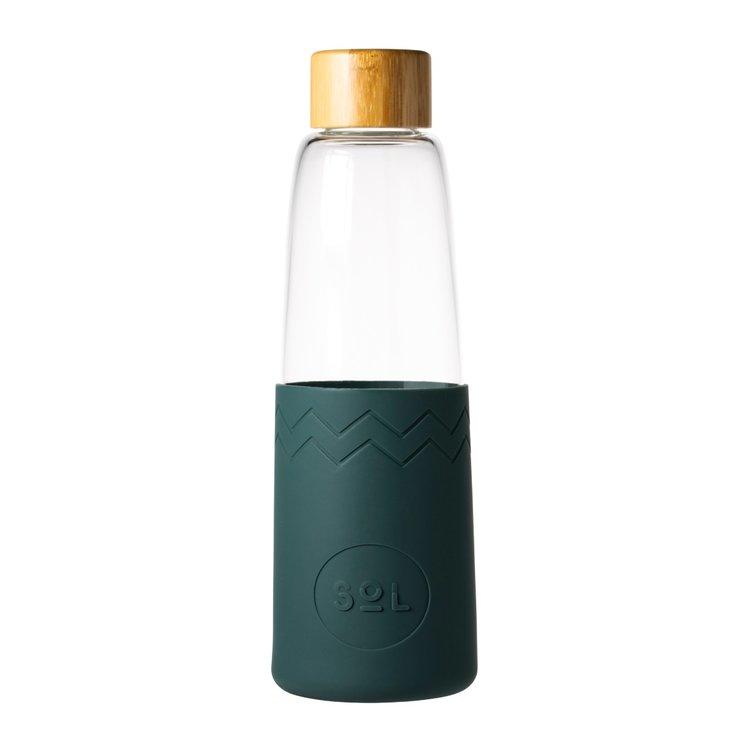 Deep Sea Green Hand-Blown Reusable Glass Water Bottle with Bamboo Lid & Hemp Bag 850ml