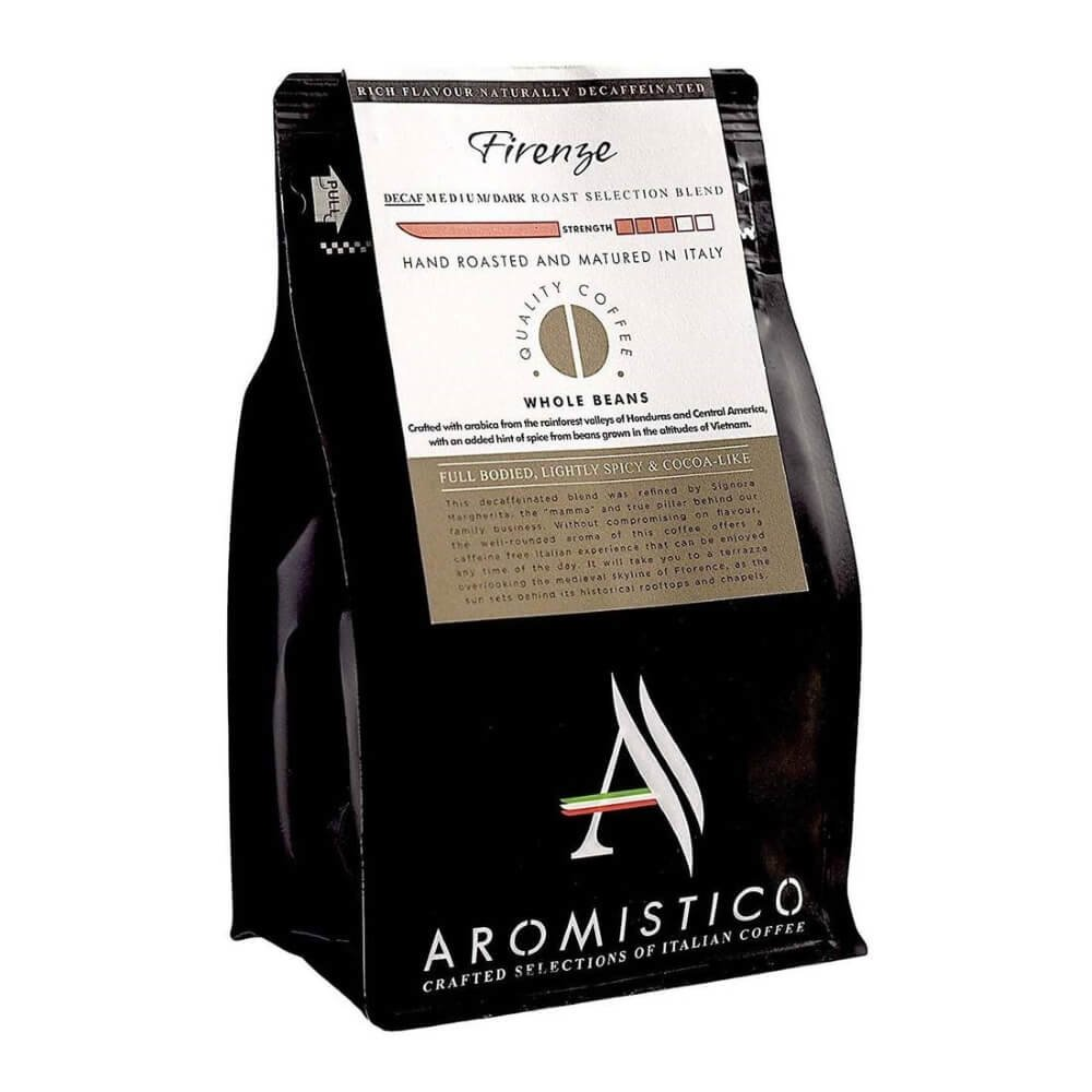 Decaffeinated Italian Whole Bean Firenze Medium Dark Selection Signora Hand Vacuum Coffee Blend 200g By Aromistico