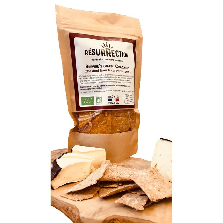 Organic Chestnut Flour & Caraway Seed 'Brewers Grain' Crackers 100g