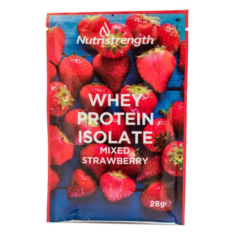 12 Mixed Strawberry Whey Protein Isolate Sachets with Plant-Based Sweeteners (12 x 32g)