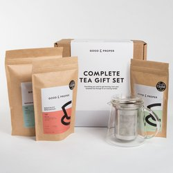 Complete Tea Gift Set Inc. Breakfast, Green & Peppermint Loose Leaf Teas, Glass Teapot & Spoon