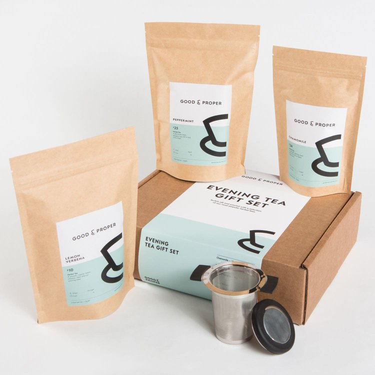 Evening Caffeine-Free Tea Gift Set Inc. Chamomile & Peppermint Loose Leaf Teas & Infuser