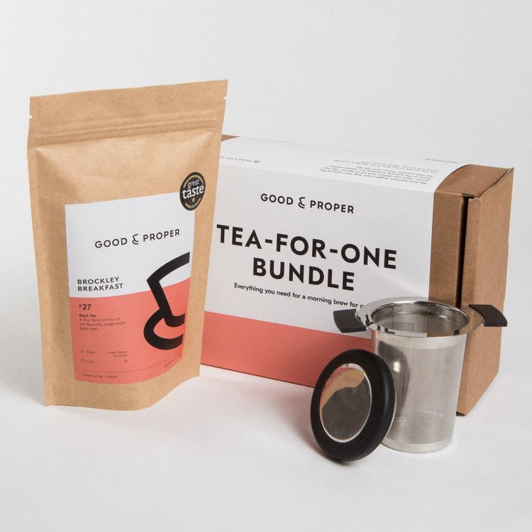 'Tea for One' Tea Gift Set with 'Brockley Breakfast' Loose Leaf Tea & Infuser