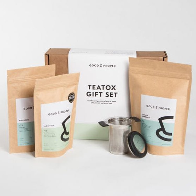 'Tea Tox' Invigorating Tea Gift Set Inc. Jade Tip & Hibiscus Loose Leaf Teas & Infuser