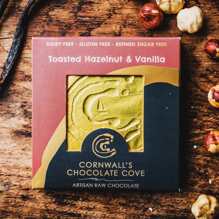 Toasted Hazelnut & Vanilla Artisan Raw Chocolate Bar 36g (Vegan)