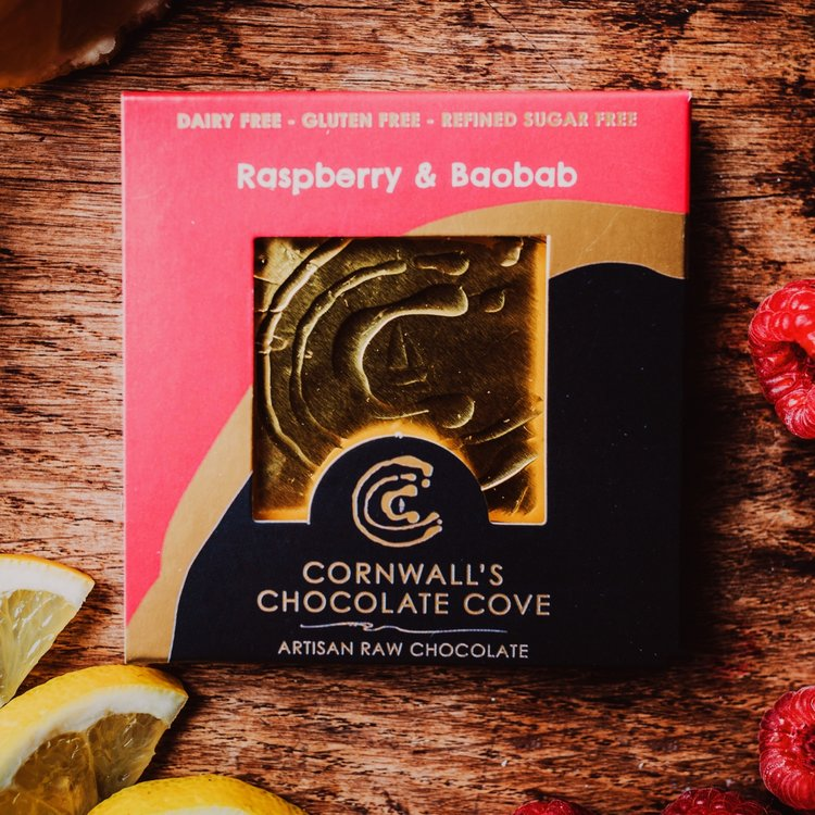 Raspberry & Baobab Artisan Raw Chocolate Bar 36g (Vegan)