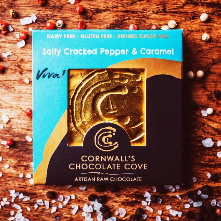 'Viva!' Salty Cracked Pepper & Caramel Artisan Raw Chocolate Bar 36g (Vegan)