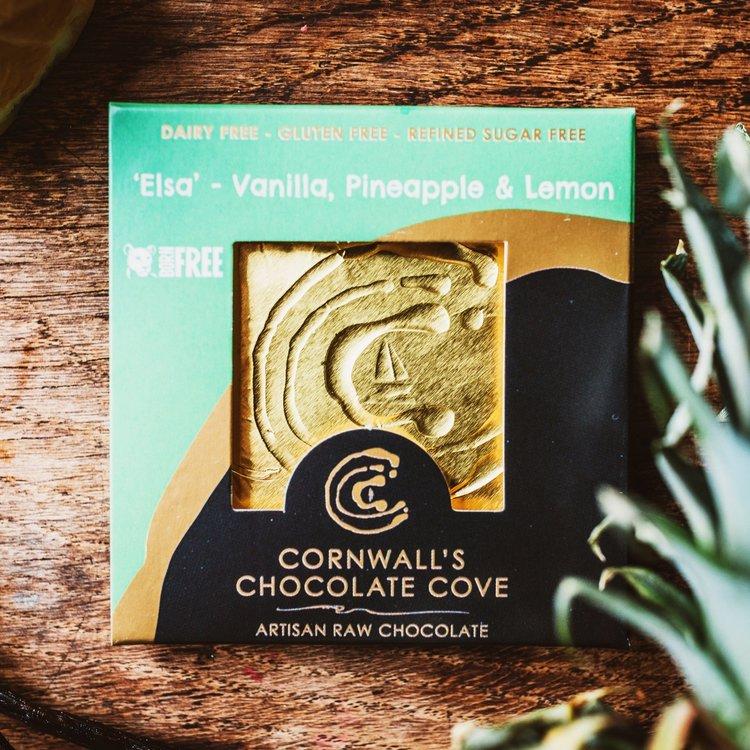 'Elsa' Vanilla, Lemon & Pineapple Artisan Raw Chocolate Bar 36g (Vegan)