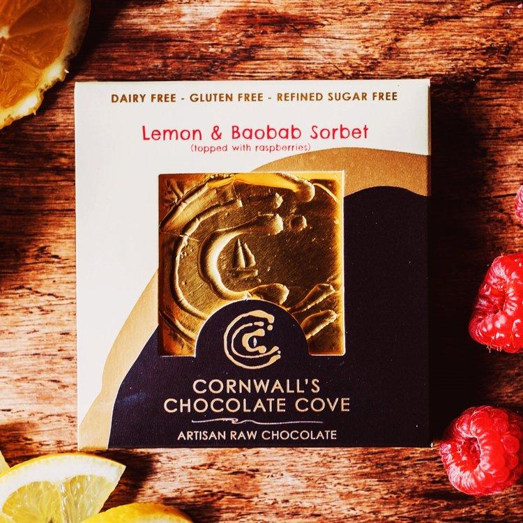 Lemon & Baobab Sorbet Artisan Raw Chocolate Bar with Raspberries 36g (Vegan)