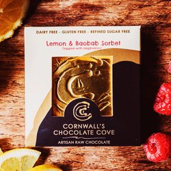 Lemon & Baobab Sorbet Artisan Raw Chocolate Bar with Raspberries 36g (Vegan)