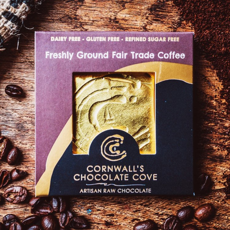 Freshly Ground Fair Trade Coffee Artisan Raw Chocolate Bar 36g (Vegan)