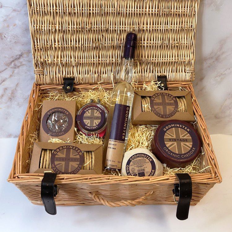 Godminster Cheese Medium Hamper Inc. Organic Cheddar, Biscuits, Chutney & Elderflower Vodka