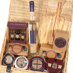 The Ultimate Godminster Cheese Hamper Inc. Cheese Board, Organic Cheddar, Biscuits, Chutney & Vodka
