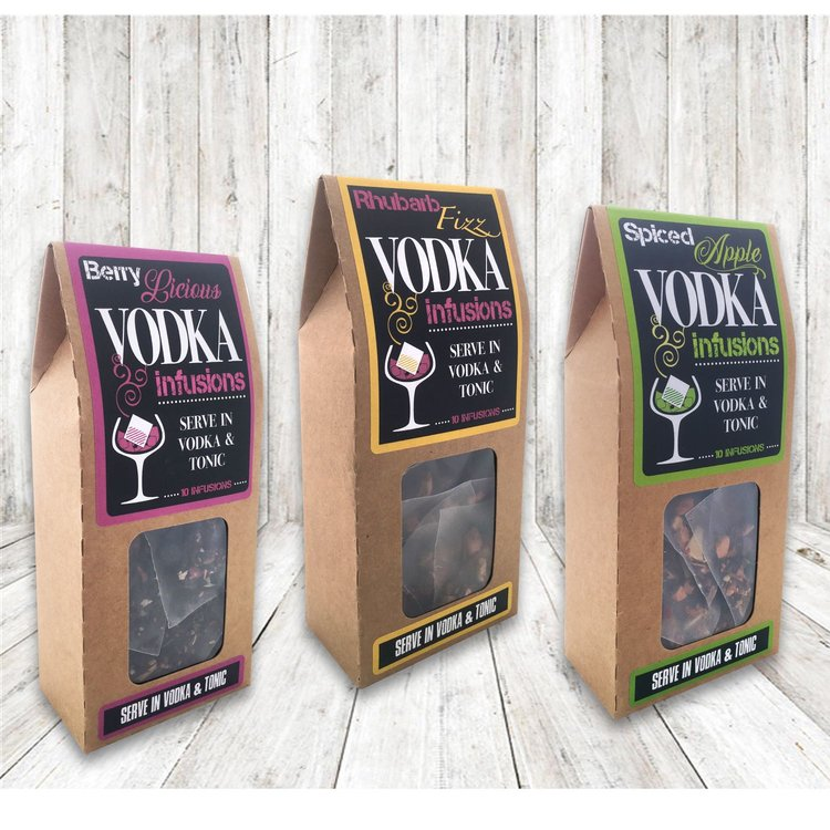Vodka Botanical Infusion Bags Set with 'Rhubarb Fizz', 'Berry Licious' & 'Spiced Apple' (30 Bags)