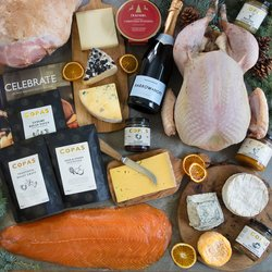 Copas Decadent Christmas in a Box - Christmas Gift Hamper with 6kg Turkey, Cheese and Festive Food