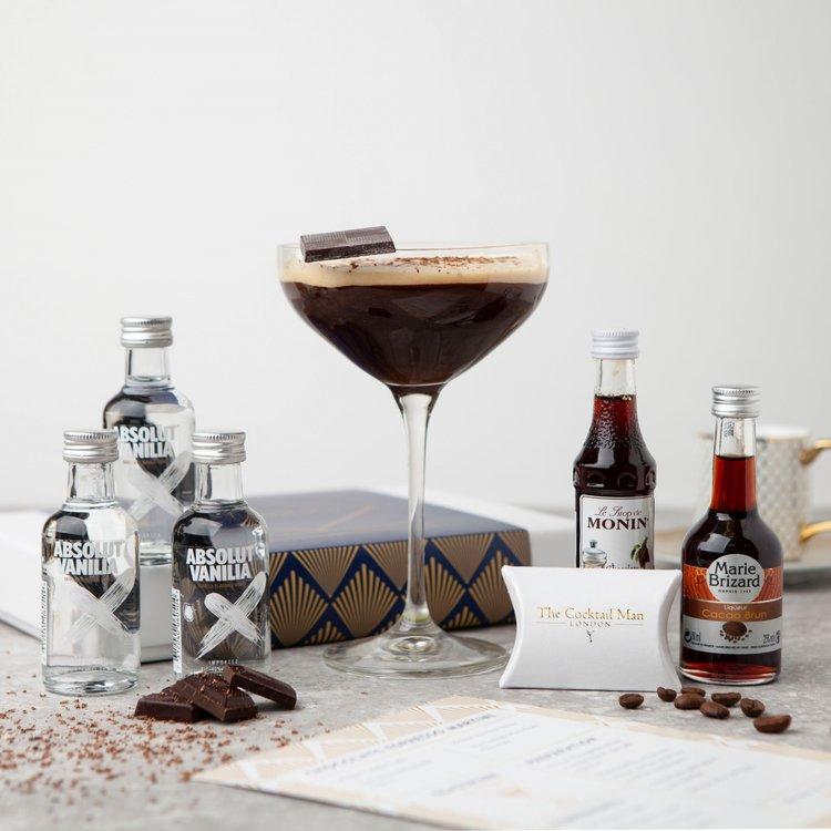 Chocolate Espresso Martini Cocktail Gift Set Inc. Vanilla Vodka, Chocolate Liqueur & Syrup