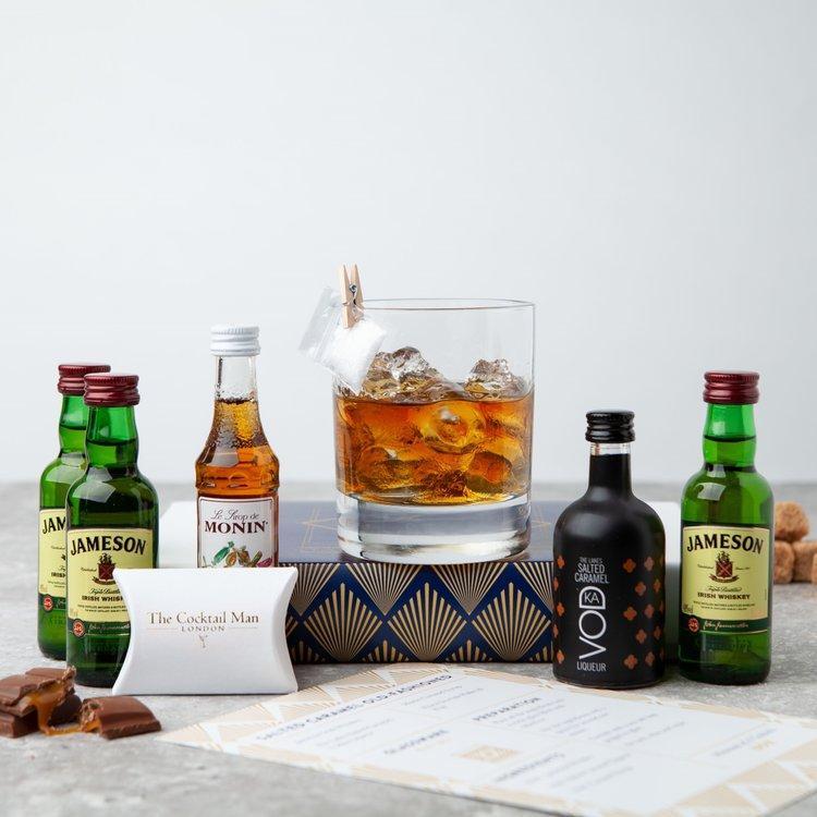Salted Caramel Old Fashioned Cocktail Gift Set Inc. Irish Whiskey, Salted Caramel Liqueur & Caramel Syrup