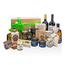'Eclectic Greek Flavours' Gift Box Inc. Wine, Olives, Salt, Olive Oil & Chutney