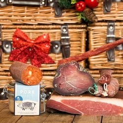 The Meat Lovers' British Charcuterie Gift Hamper Inc. Ham, Bresaola, Beersticks, Pork Rillette & N'duja