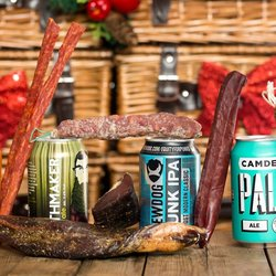 'Cure & Craft' Box British Charcuterie & Beer Gift Box Inc. Biltong, Salami & Craft Beers