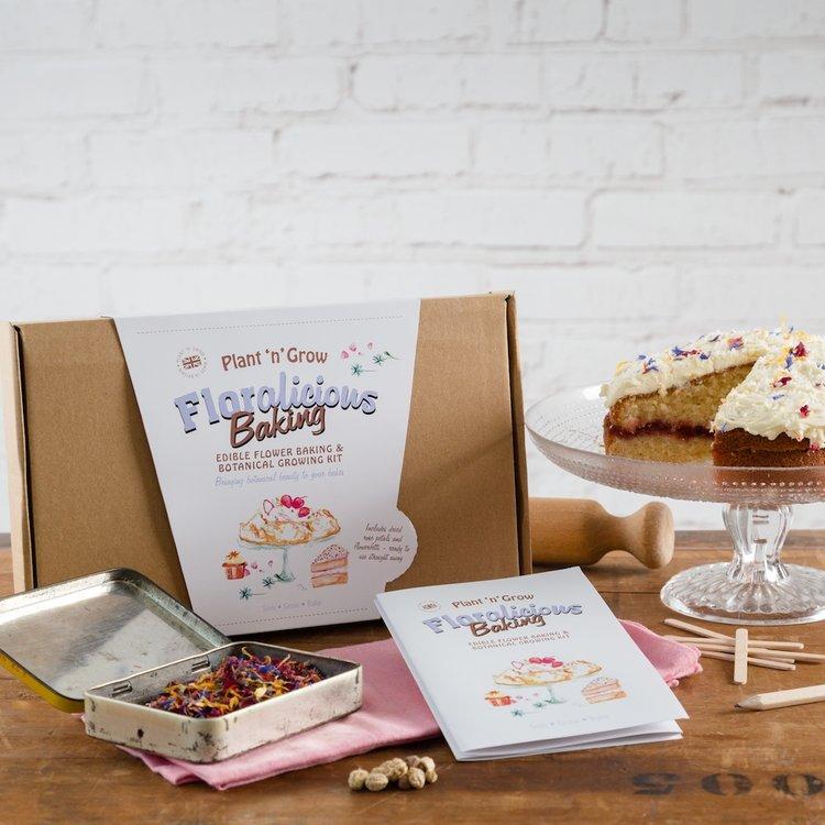 'Floralicious Baking' Edible Flower Baking & Botanical Growing Gift Kit with Dried Rose Petals