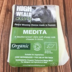 Organic Medita Feta Style Soft Cheese in Brine 120g by High Weald Dairy