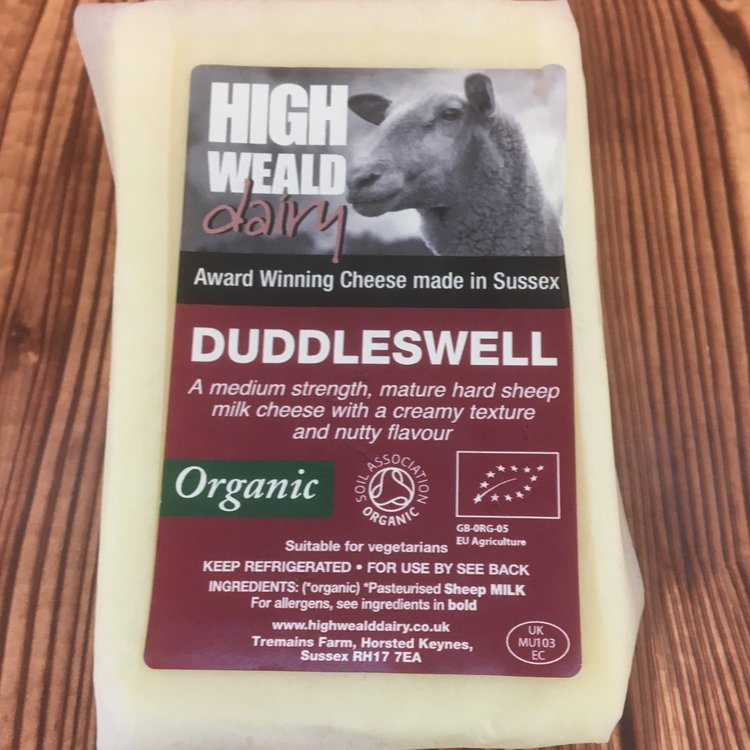 Organic Duddleswell Hard Cheddar Style Sheep's Milk Cheese 150g by High Weald Dairy