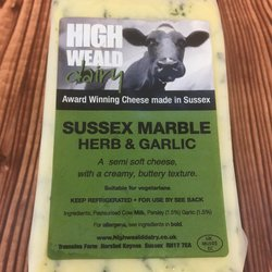 Herb & Garlic Sussex Marble Semi-Soft Cheese 120g by High Weald Dairy