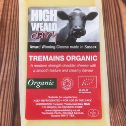Organic Tremains Cheddar Cheese 150g by High Weald Dairy