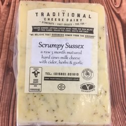 Scrumpy Sussex Hard Cheese with Cider, Herbs & Garlic 200g by Traditional Cheese Dairy