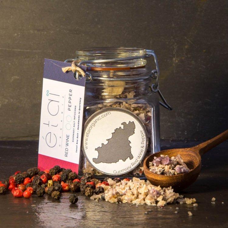 Red Wine & Pepper Guernsey Sea Salt Crystals 60g Jar (Organic)
