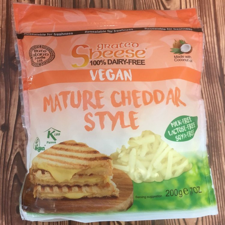 Dairy-Free Grated Mature Cheddar Style Vegan Cheese ('Sheese') 200g