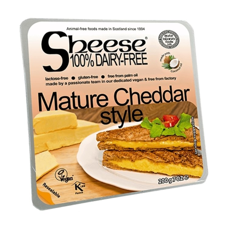 Dairy-Free Vegan Mature Cheddar Style Cheese ('Sheese') 200g by Bute Island
