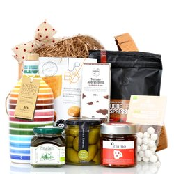 'Maxi' Italian Gift Hamper in Vintage Hat Box Inc. Nougat, Coffee, Olive Oil & Pesto
