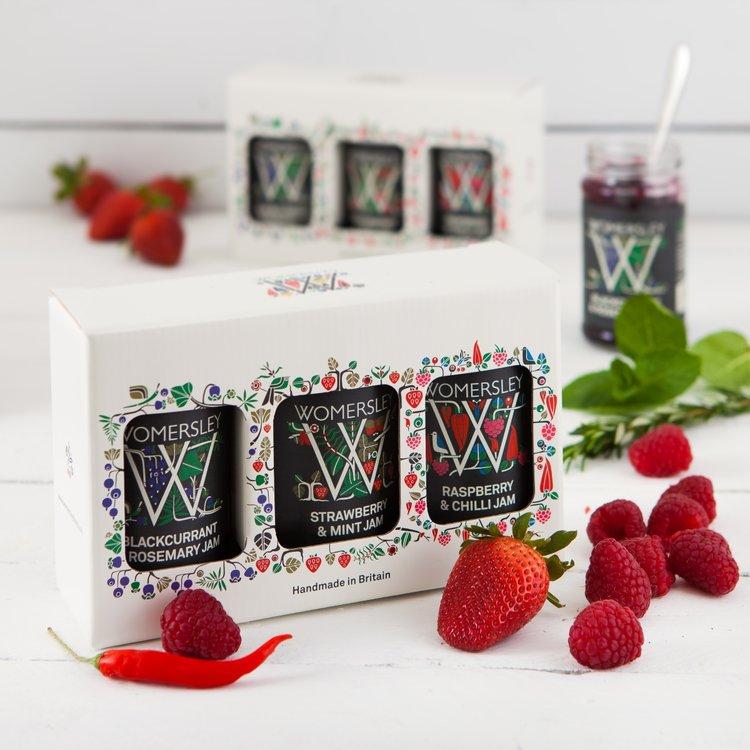 3 Luxury Fruit Jam Gift Box Inc. Blackcurrant & Rosemary, Strawberry & Mint & Raspberry & Chilli