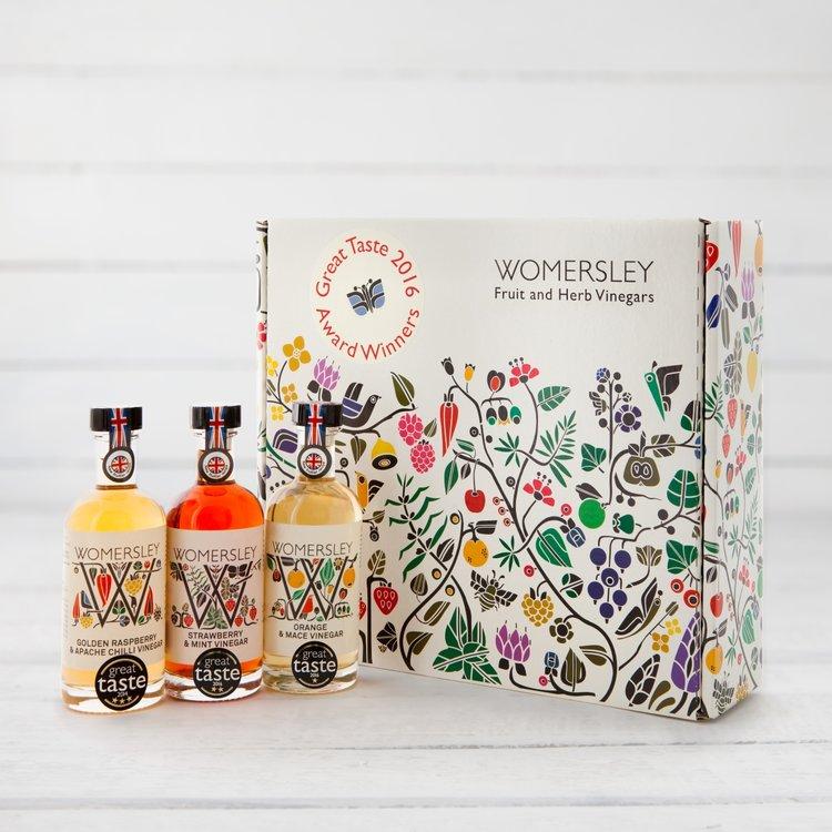 Great Taste Award Winning Fruit & Herb Vinegar Gift Box Inc. Raspberry, Strawberry & Orange Vinegars