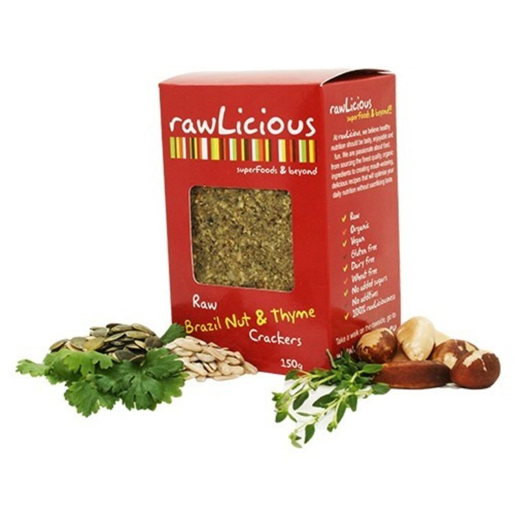 Rawlicious raw brazil nut and thyme crackers 150g 2949