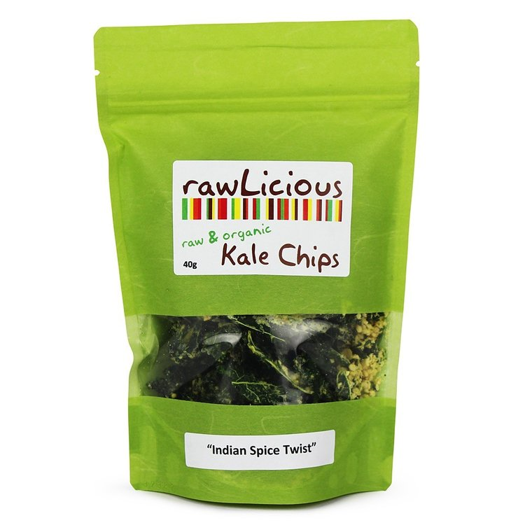 Rawlicious indian spice twist kale chips 40g