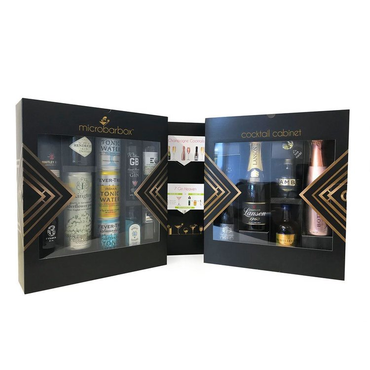 Gin & Champagne Cocktail Cabinet Gift Box Inc. 6 Gins, Champagne, Prosecco, Liqueurs & Mixers
